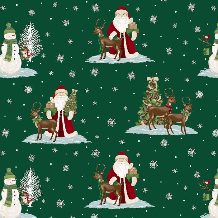 A Christmas To Remember Santa & Reindeer 8155-66 Green