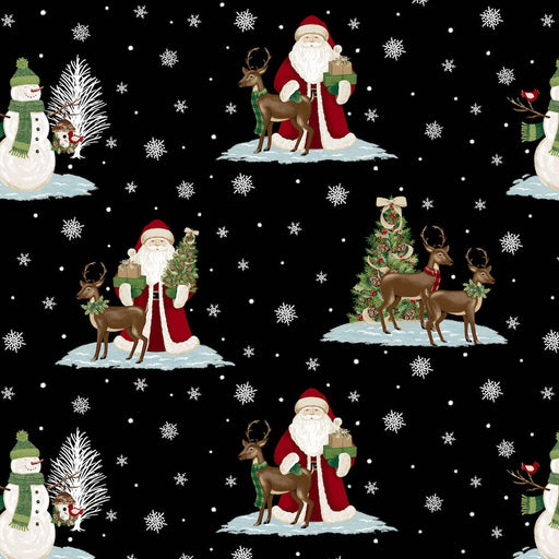 A Christmas To Remember Santa & Reindeer 8155-99 Black