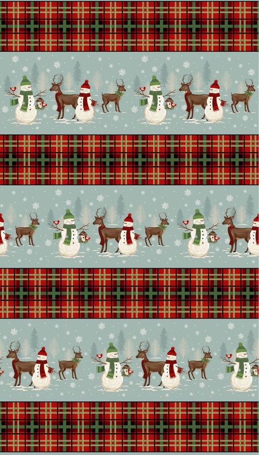 A Christmas to Remember Snowman & Reindeer Stripe 8158-11 Light Blue