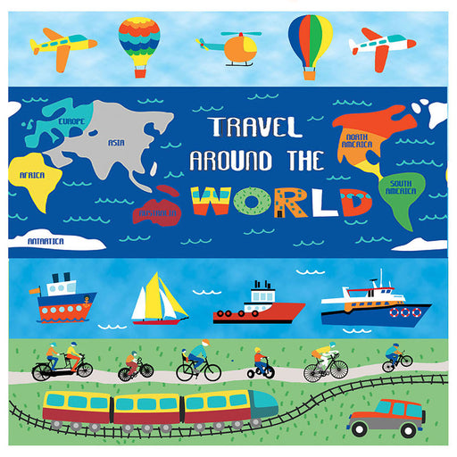 Travel Around The World Book Panel 8225P-11 Light Blue