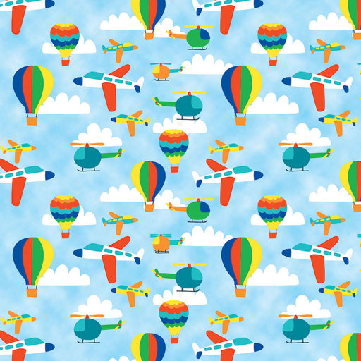 Travel Around the World Airplanes, Helicopters, Hot Air Balloons 8228-11 Light Blue