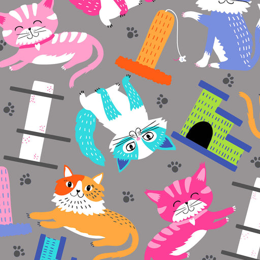 Kitten Kaboodle Cats With Scratching Pad 8241-90 Grey