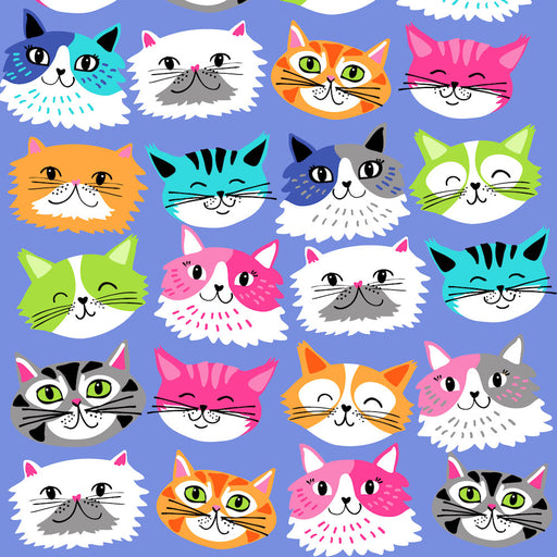 Kitten Kaboodle Cat Faces 8242-77 Blue