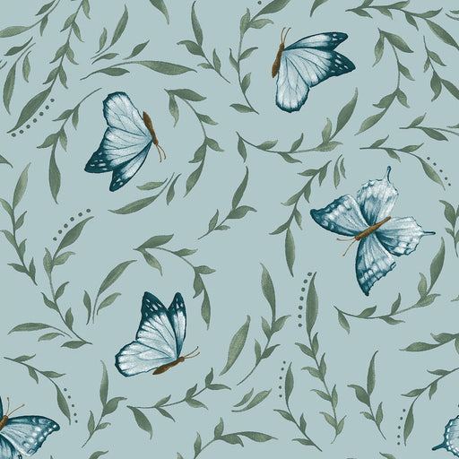Blossom Vine Little Leaves With Butterflies 8282-11 Light Blue