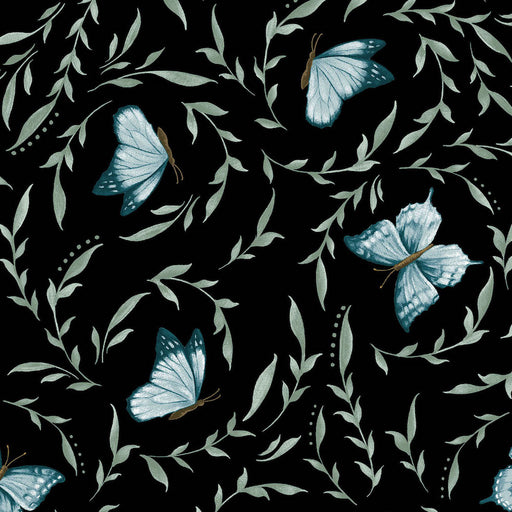 Blossom Vine Little Leaves With Butterflies 8282-99 Black