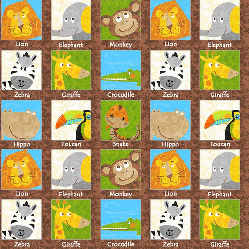 Safari Expedition Animals In Squares 8358-35 Brown