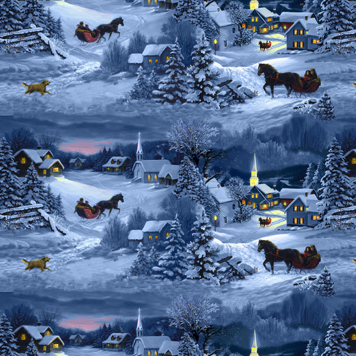 Let It Snow - Night Scene With Horses 9125-79 Dark Blue