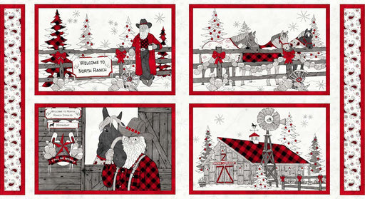 "Western Christmas - Placemat 24"" Panel 9144P-01 White"