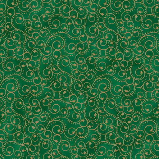 Elegant Christmas - Scroll Metallic 9157M-66 Green