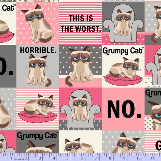 Grumpy Cat Blocks 9724-0144 Grey/Pink