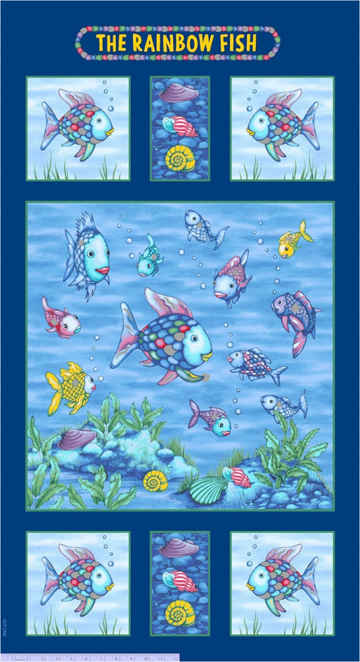 "The Rainbow Fish Glitter 24"" Panel 9776-0750 Blue"