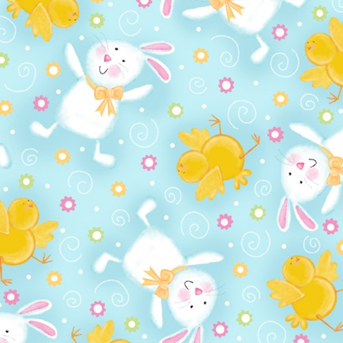 A Joyful Easter Bunnies and Chicks 23717-B Blue