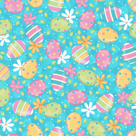A Joyful Easter Eggs & Flowers 23718-B Blue