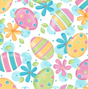 A Joyful Easter Eggs & Flowers 23718-Z White