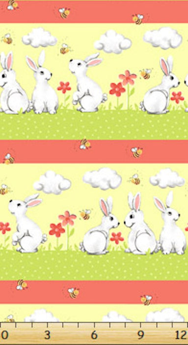 Bunny and Friends Repeating Border SB-20185-440 Coral
