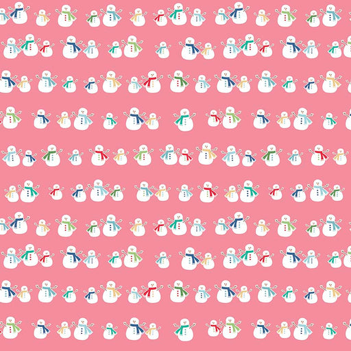 Cozy Christmas Flannel Snowmen F5363-Pink