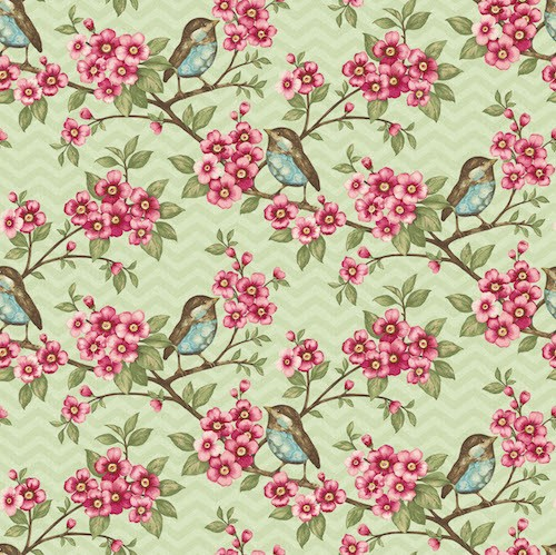 Cherry Blossom Love Birds 7341-62 Light Green