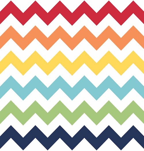 Cotton Chevron Medium C320-001 Rainbow