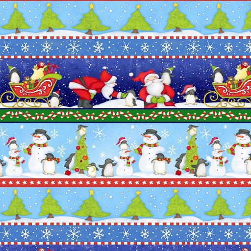 North Pole Greetings Christmas Stripe F3295-71 Blue