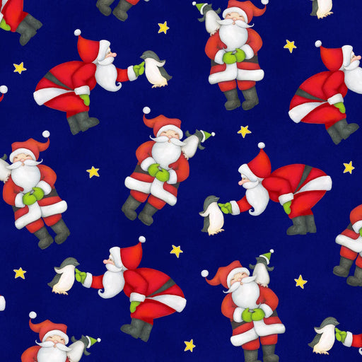 North Pole Greetings Allover Santas F3298-77 Navy