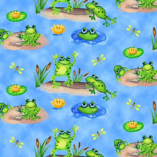 Froggin' Around Frogs in Ponds 7401-77 Blue