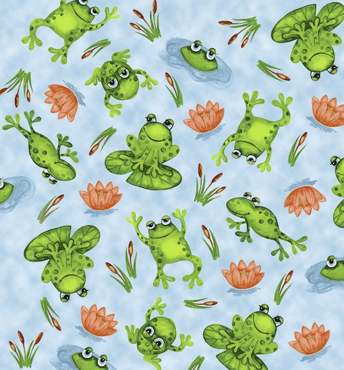 Froggin' Around Frogs and Lily Pads 7397-11 Light Blue