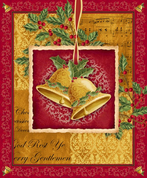 Christmas Bells Panel 23831-RS (Red/Gold)