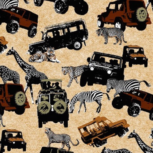 Serengeti Tree Animals with Jeeps 7326-35 Tan