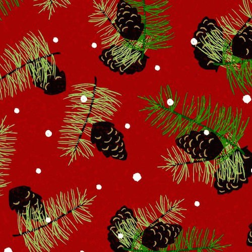 Woodland Christmas Pinecones 7248-88 Red