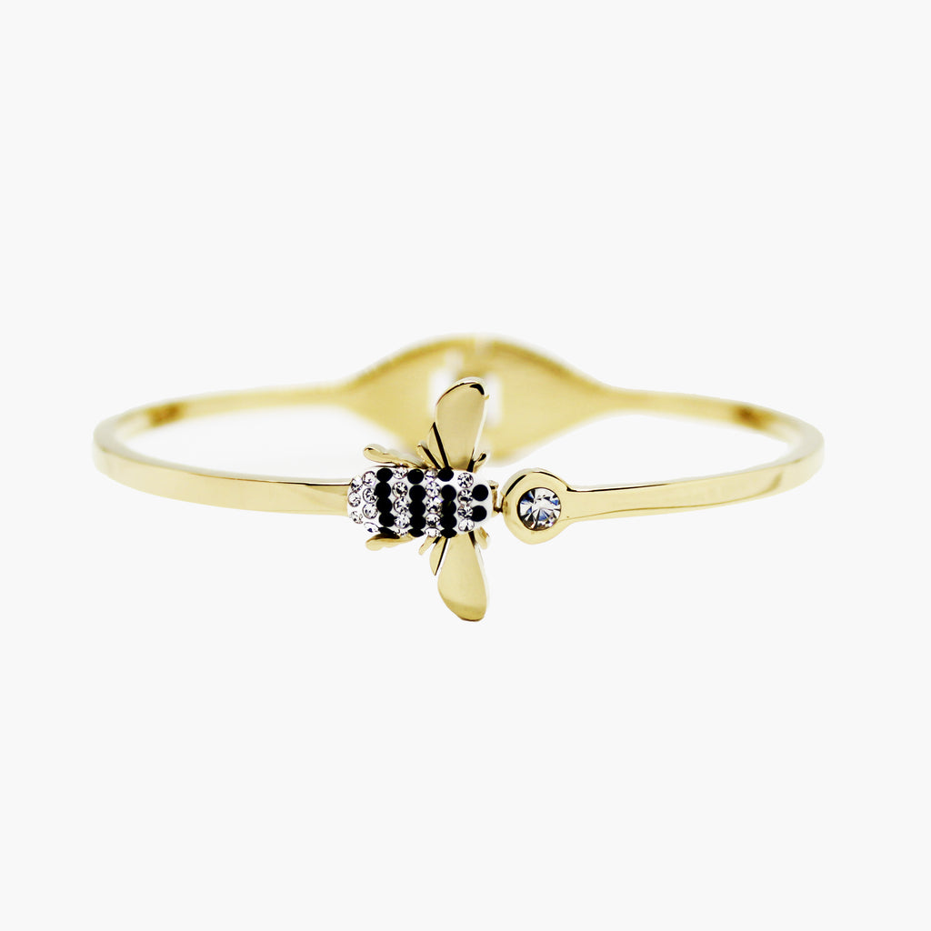 Brazalete gold bangle mosca con circones