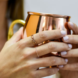 Anillo rose gold eslabones