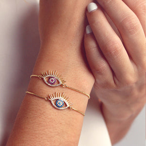 Brazalete ajustable lucky eye rosa