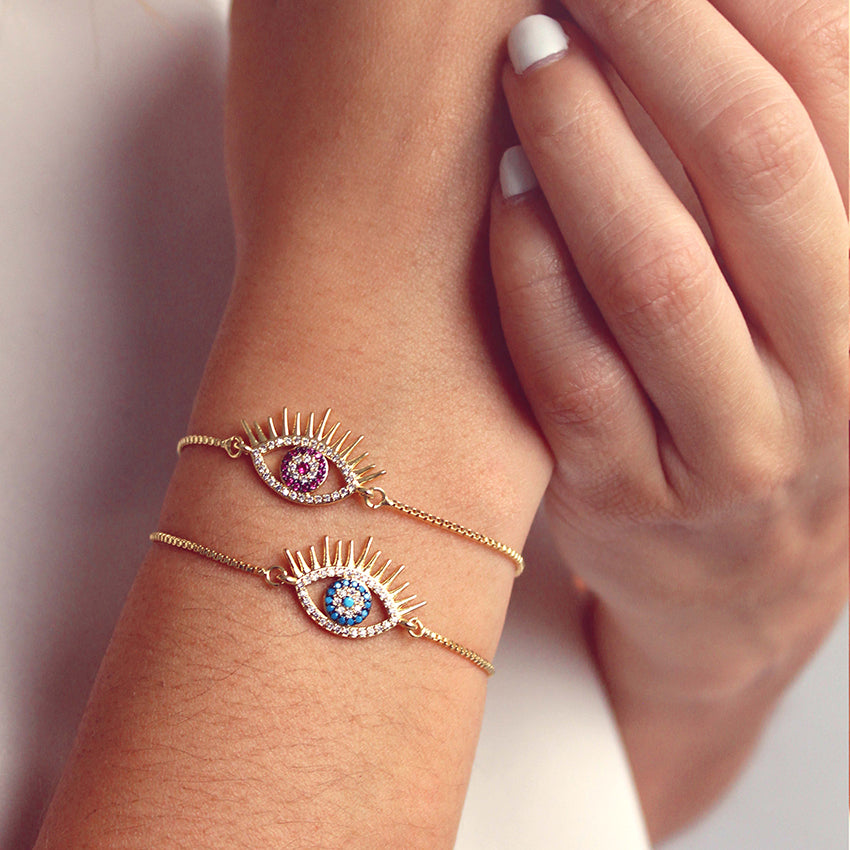 Brazalete ajustable lucky eye azúl