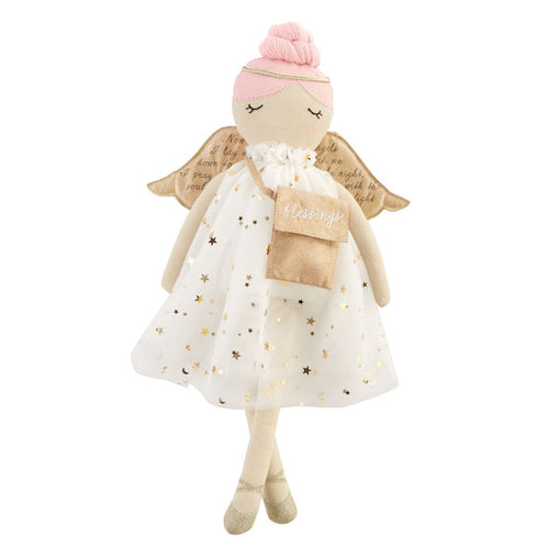 Silver Star Dress Angle Doll with Pink Hair