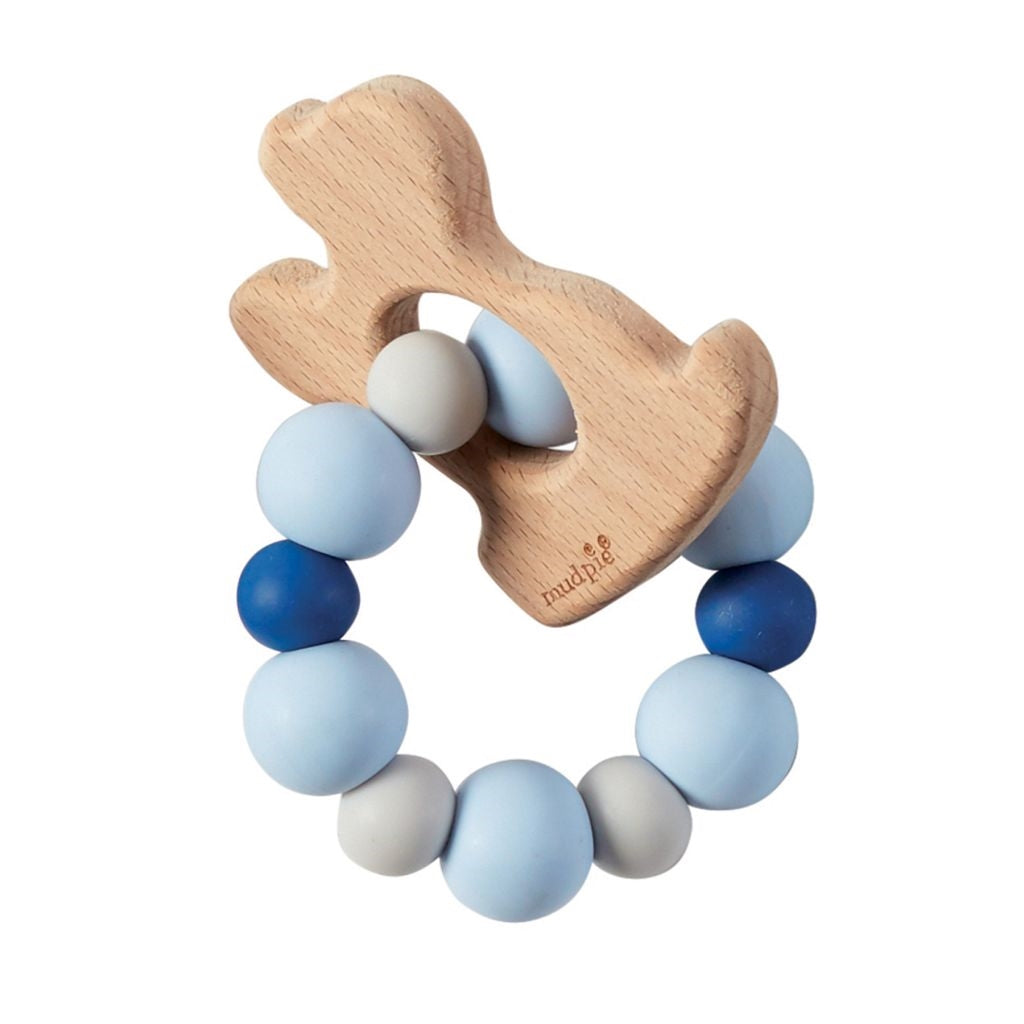 Blue Puppy Shaped Wood & Silicone Teether