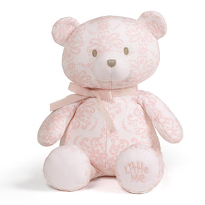 "GUND Little Me Damask Pink and White Footie Pajamas, Hat, and 10"" Teddy Bear Plush"