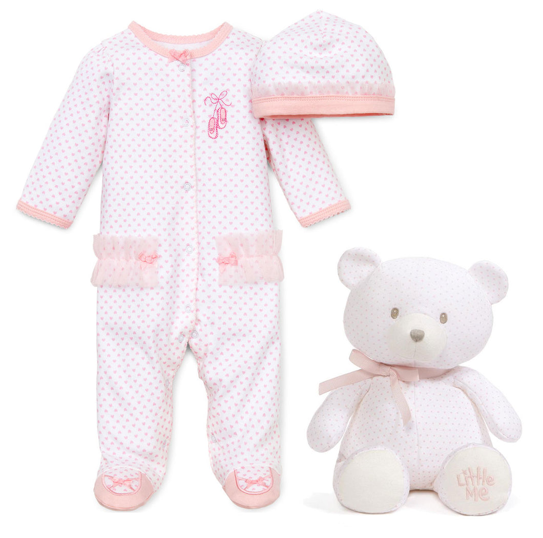 Little Me Prima Ballerina Footie Pajama, Hat, and GUND Polka Dot Pink and White 10