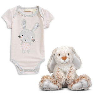 "Bunny Baby Bodysuit and 14"" Burrow Bunny Rabbit Stuffed Animal"