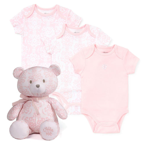 Little Me Damask Three-Pack of Pink and White Bodysuits and Matching 10