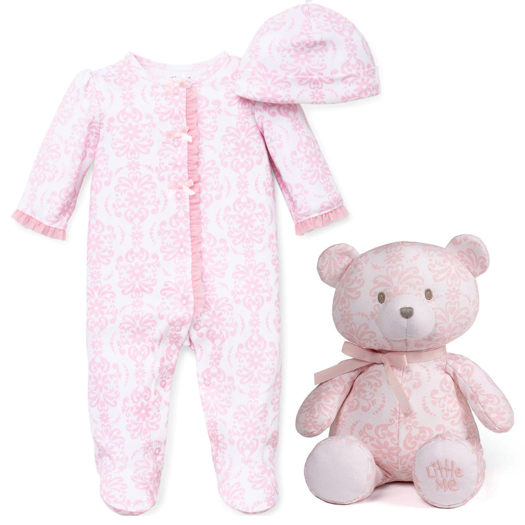 GUND Little Me Damask Pink and White Footie Pajamas, Hat, and 10