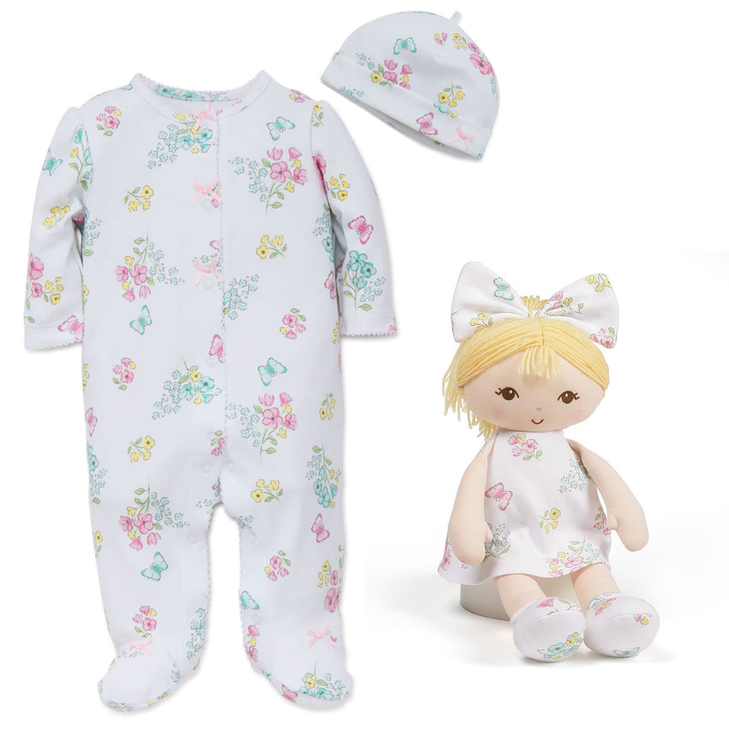 Little Me Floral Baby Footie Pajamas, Hat, and Matching GUND Blonde Doll, 13