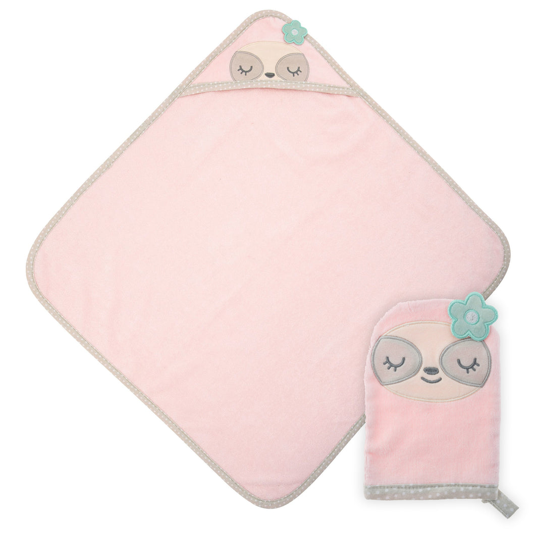Hooded Bath Towel and Mitt - Pink Sloth