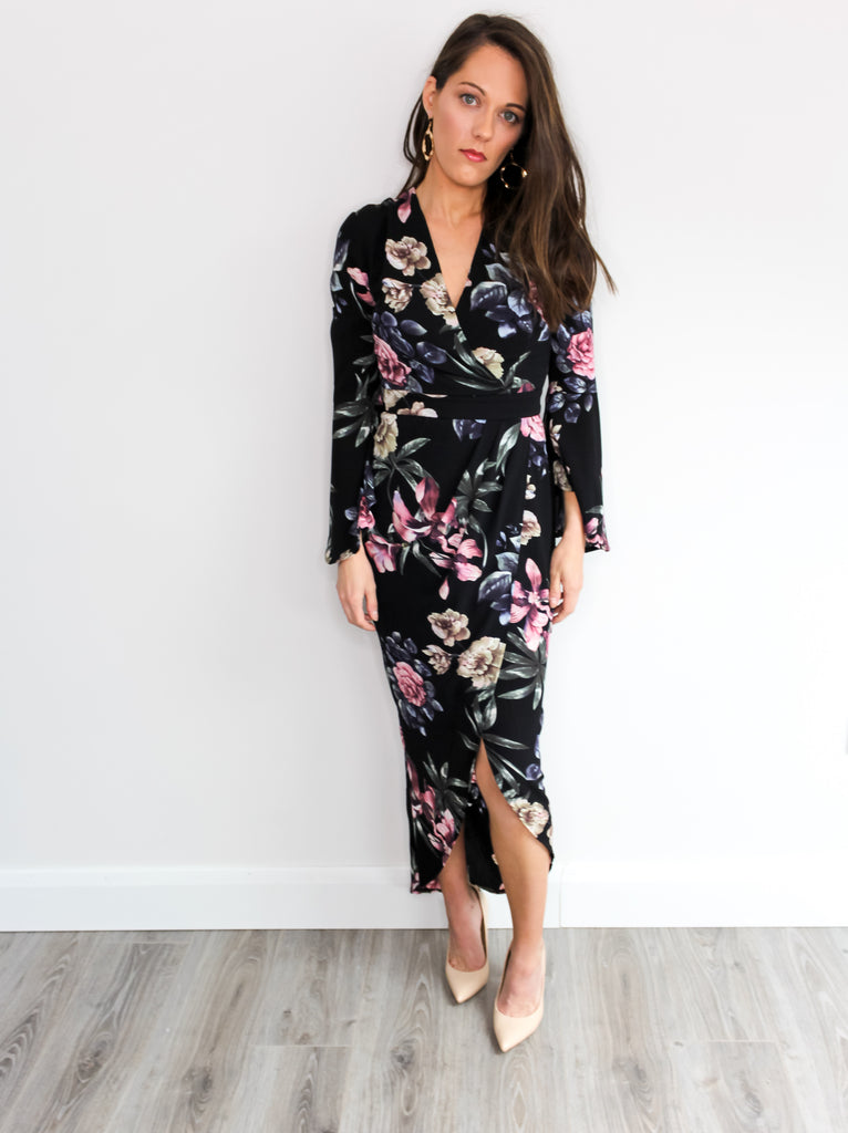 e8bfe7bda5 ... Black floral maxi dress with bell / flute sleeve and v-neck, with front  ...