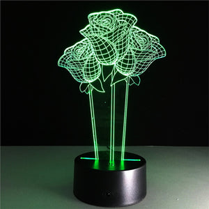 3D Flower Lamp with Changing Light Effects