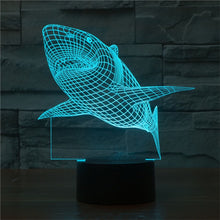 3D Shark Lamp with Changing Light Effects