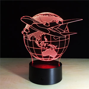 3D Plane Flight Lamp with Changing Light Effects