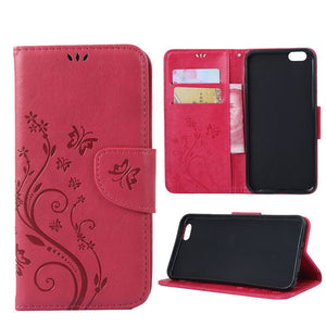 Wallet Case For Iphone 7 6 6s Plus SE 5 5s Funda Retro Flower Embossed Leather Flip Stand Holder Cover With Card Slot Capa Shell