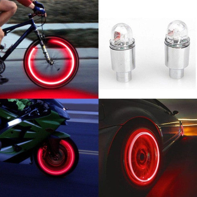 Drop Shipping 2017 2pcs LED Tire Valve Stem Caps Neon Light Bike Wheel Spokes Cycling LED Light Bicycle  Accessories #EW