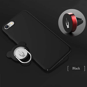 3 in 1 Shockproof Armor Phone Cases For iphone 7 6 6s Plus Case With Metal Finger Ring Holder Stand + Magnetic Car Mount Bracket