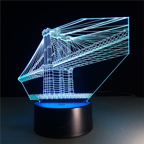 3D Bridge Lamp with Changing Light Effects